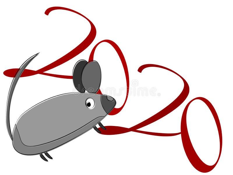 Znak myszy Zamknięcie na tle światła Szczęśliwy symbol nowego roku Szczur dziki Dzika natura Szablon ulotki na biało ilustracja wektor