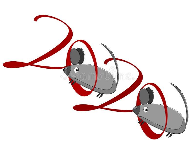 Znak myszy Zamknięcie na tle światła Szczęśliwy symbol nowego roku Szczur dziki Dzika natura Szablon ulotki na biało ilustracji