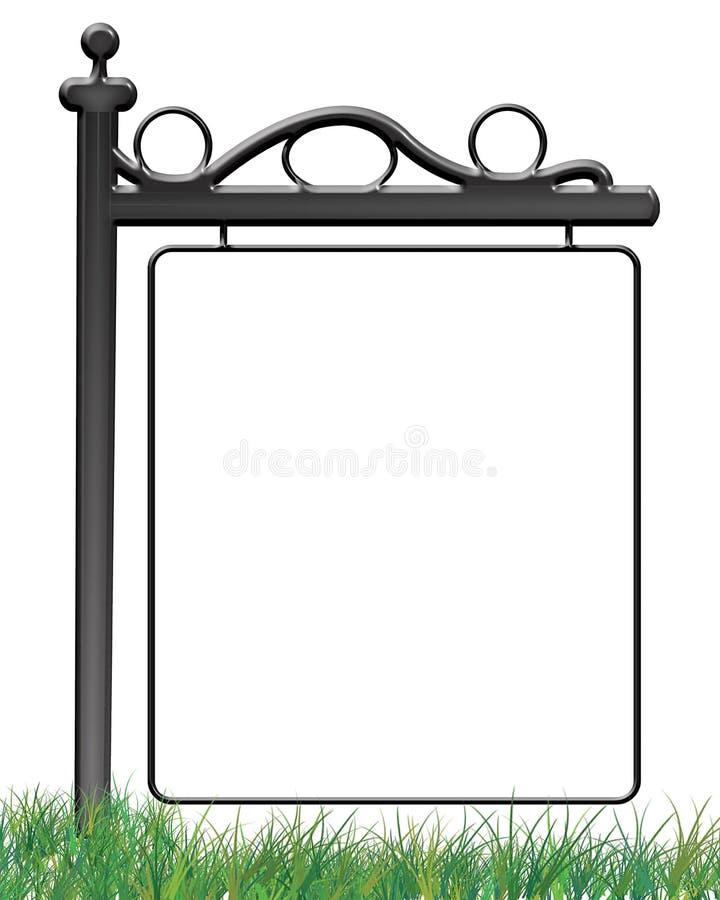 Znak Na trawy fotografii ramie ilustracja wektor