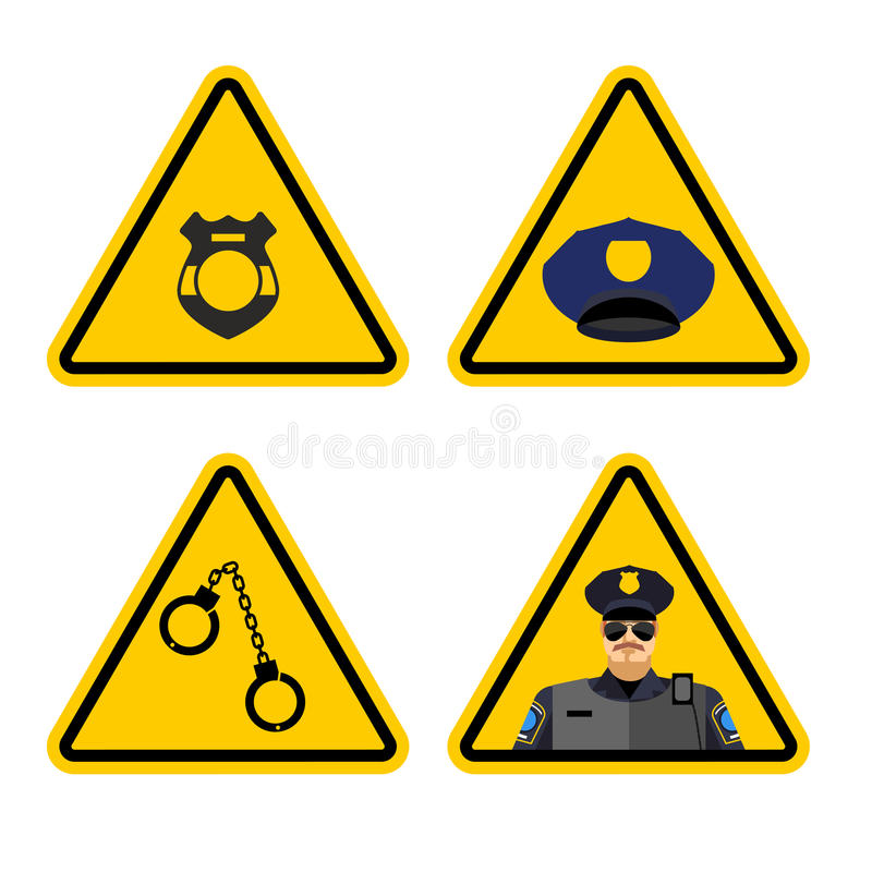 Znak ostrzegawczy milicyjna uwaga Niebezpieczeństwo koloru żółtego znaka zatrzymanie Po royalty ilustracja