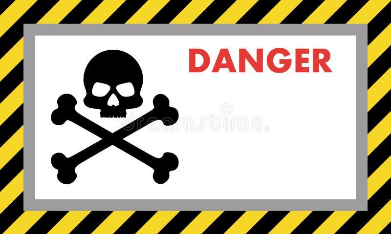 Znak ostrzegawczy niebezpieczeństwo z czaszką, z przestrzenią dla teksta wyjaśnienia projekta świeża ilustracyjna naturalna wekto ilustracja wektor