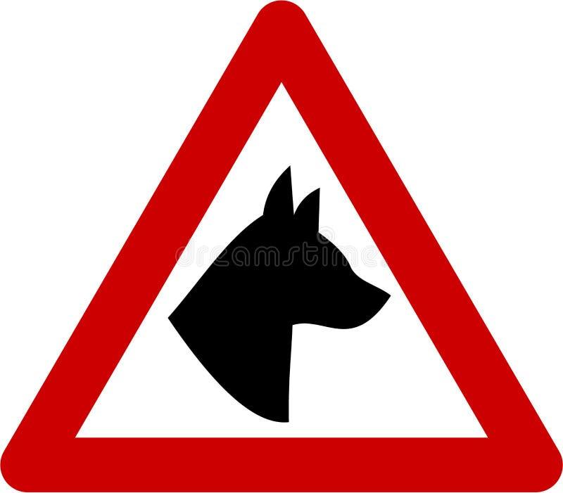 Znak ostrzegawczy z psem royalty ilustracja