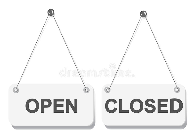 Znak otwarta i zamknięta drzwiowa deska royalty ilustracja