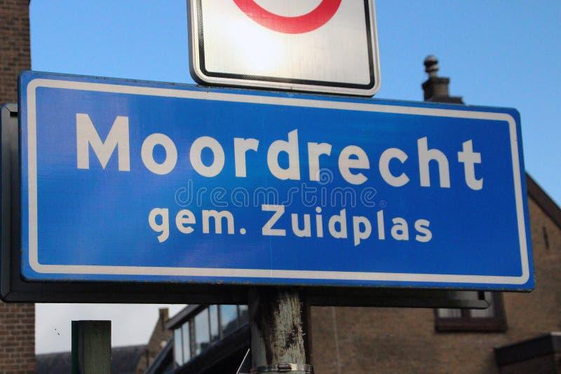 Znak początku obszar miejski Moordrecht w holandiach, część magistracki Zuidplas zdjęcia stock