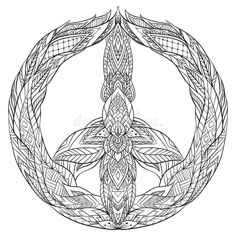 Znak pokój z boho wzorem royalty ilustracja