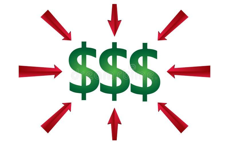 Znak pokazuje dolarowego znaka pojęcia wektoru ilustrację royalty ilustracja