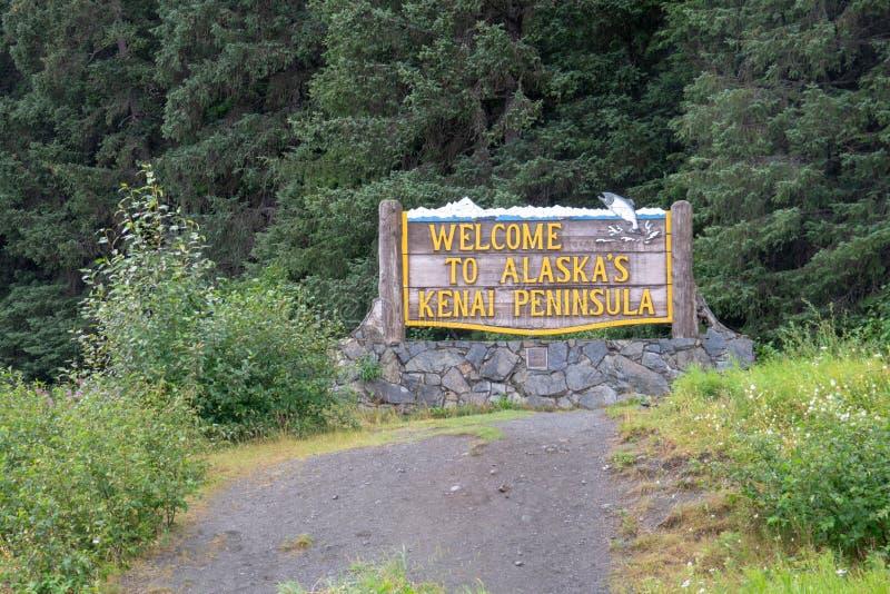 Znak powitalny Alaska ` s Kenai półwysep na Turnagain ręki autostradzie obrazy royalty free