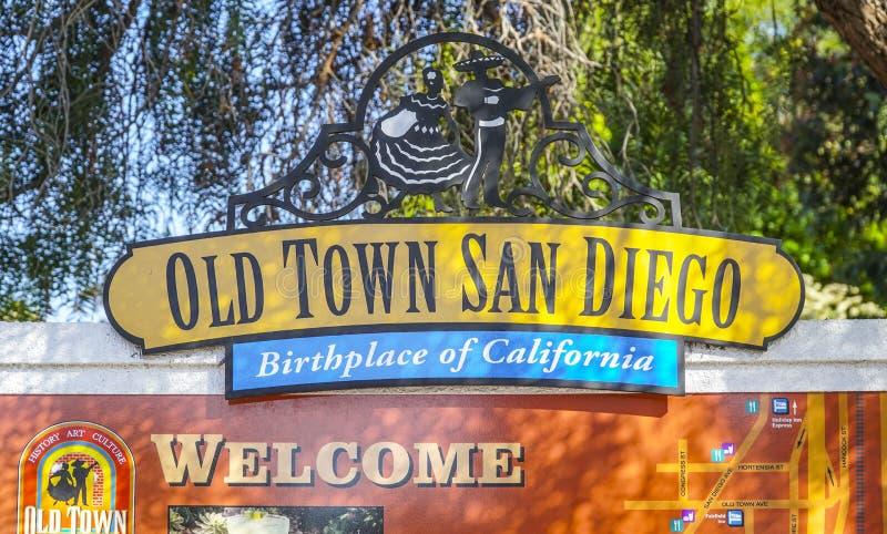 - 21, 2017 znak powitalny Stary Grodzki San Diego, SAN DIEGO, KALIFORNIA, KWIECIEŃ - fotografia stock