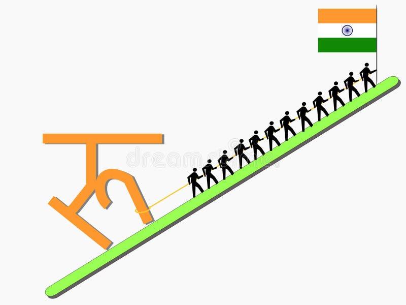 znak pracowników pullings rupii. ilustracja wektor