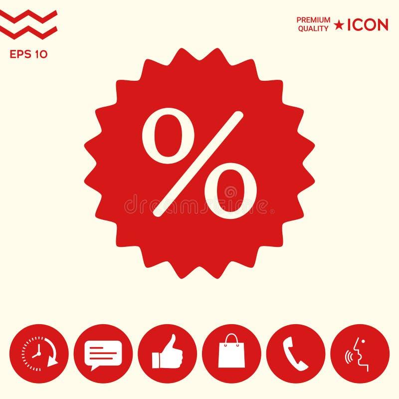 Znak, procentu symbolu rabata ikona ilustracja wektor