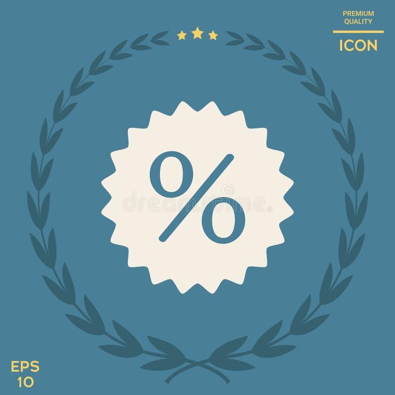 Znak, procentu symbolu rabata ikona ilustracji
