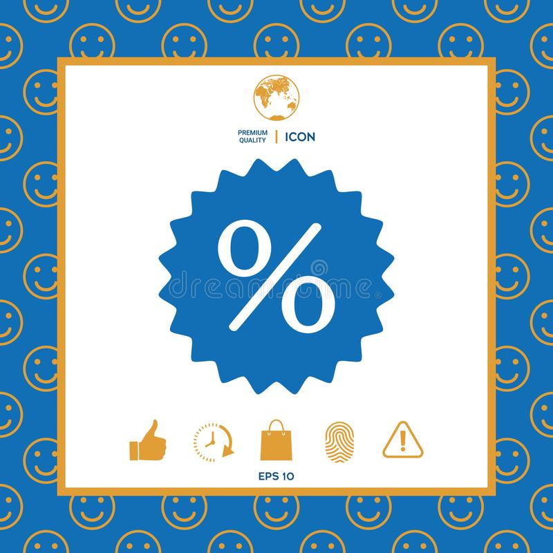 Znak, procentu symbolu rabata ikona royalty ilustracja