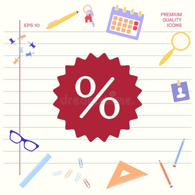 Znak, procentu symbolu rabata ikona Graficzni elementy dla twój projekta ilustracja wektor