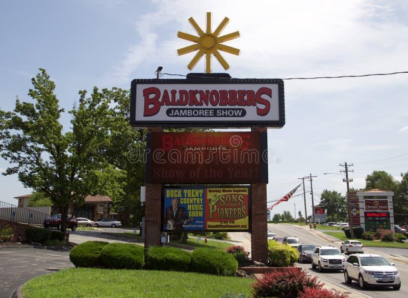 Znak przy Baldknobber Jamboree przedstawieniem, Branson Missouri fotografia royalty free