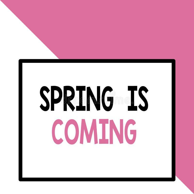 Znak tekstowy pokazujący, że nadchodzi wiosna Koncepcyjne zdjęcie Po nadejściu sezonu zimowego Enjoy natura kwiaty słońce Front royalty ilustracja