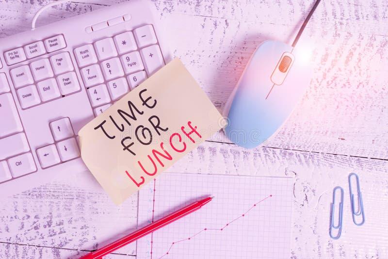 Znak tekstowy pokazujący czas na obiad Zdjęcia koncepcyjne Moment na posiłek Przerwa w pracy Relax jedz pij pij pij pij fotografia stock