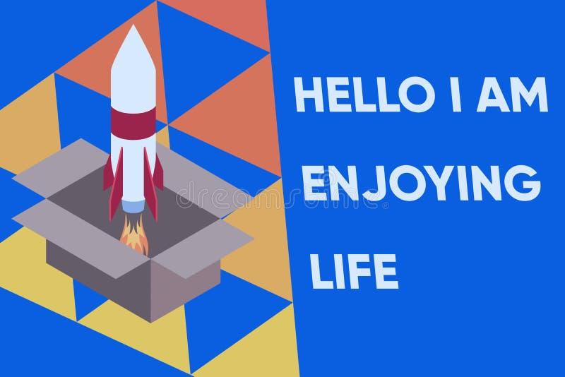 Znak tekstowy pokazujący Hello I Am Enjoy Life Koncepcyjne zdjęcie Happy relaxed lifestyle Ciesz się prostymi rzeczami Rakieta og ilustracja wektor
