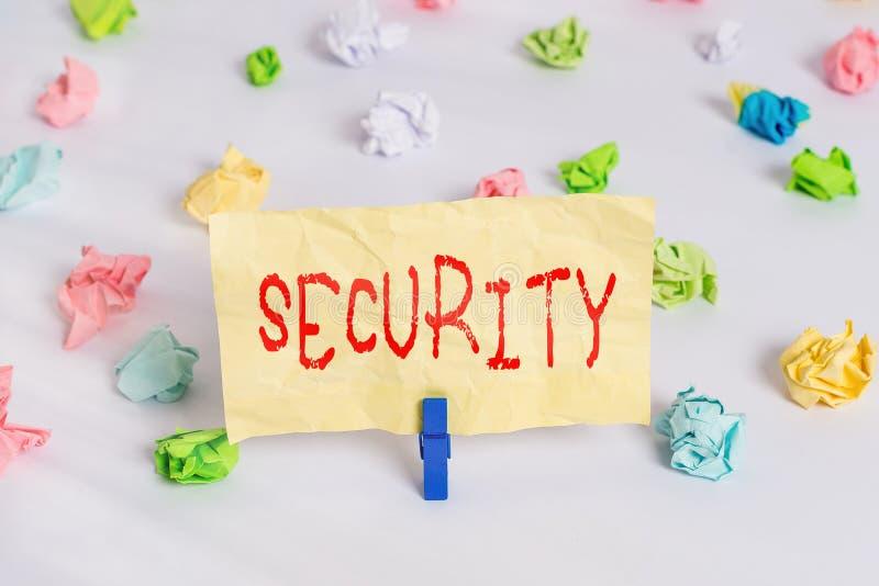 Znak tekstowy przedstawiający zabezpieczenia Koncepcyjne środki fotograficzne podjęte w celu zapewnienia bezpieczeństwa Jakość lu fotografia stock