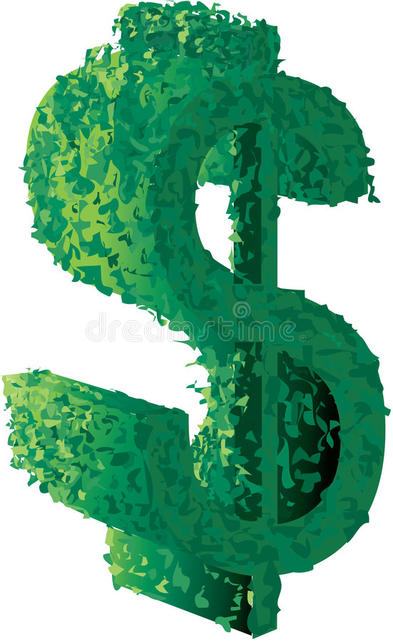 znak topiary dolarów ilustracji