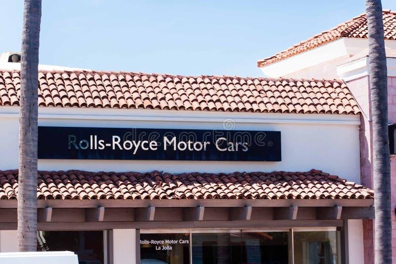 Znak twierdzi Rolls Royce Motorowych samochody - losu angeles Jolla przedstawicielstwo handlowe zdjęcie royalty free
