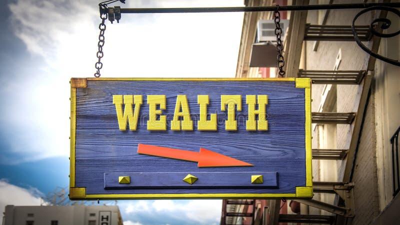 Znak Uliczny bogactwo zdjęcia royalty free