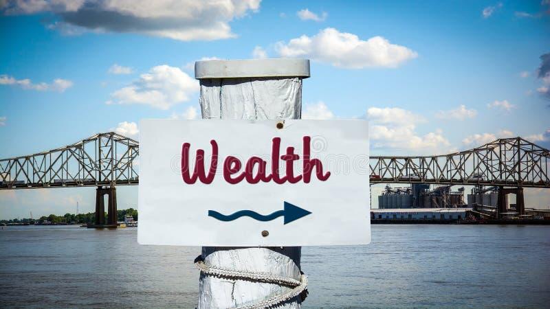 Znak Uliczny bogactwo zdjęcie royalty free