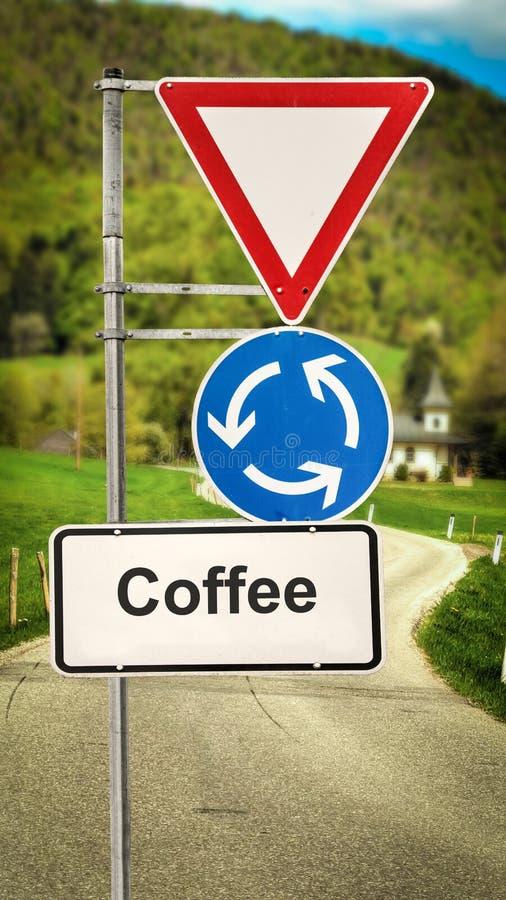 Znak Uliczny kawa royalty ilustracja
