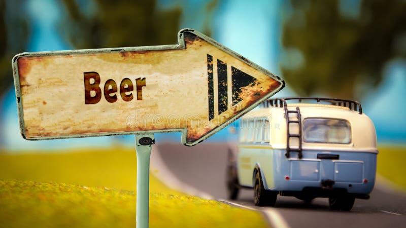 Znak Uliczny piwo zdjęcia royalty free