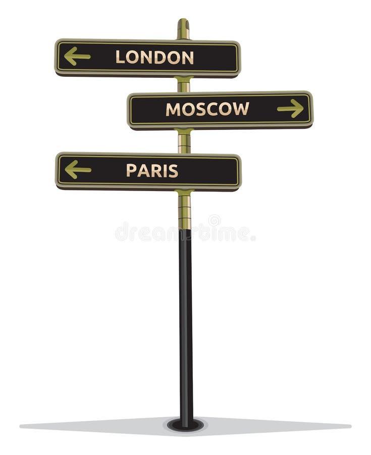 Znak uliczny pokazuje miasta ilustracja wektor