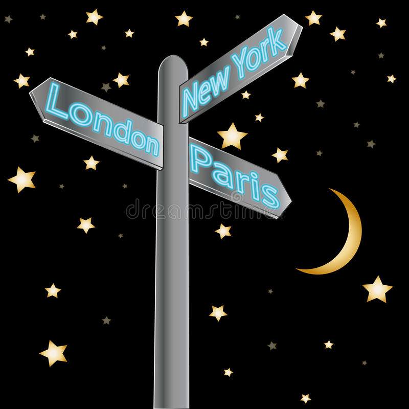 Znak uliczny pokazuje miasta - London Paris nowy York ilustracji
