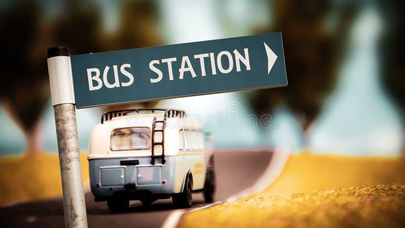 Znak Uliczny przystanek autobusowy fotografia royalty free