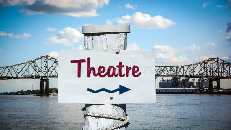 Znak Uliczny Theatre obraz stock