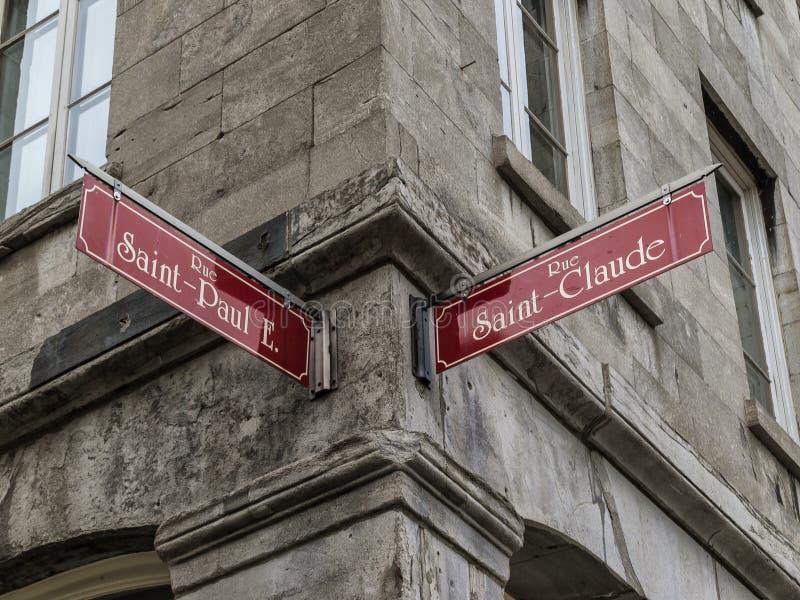 Znak uliczny w Starym Montreal obrazy royalty free