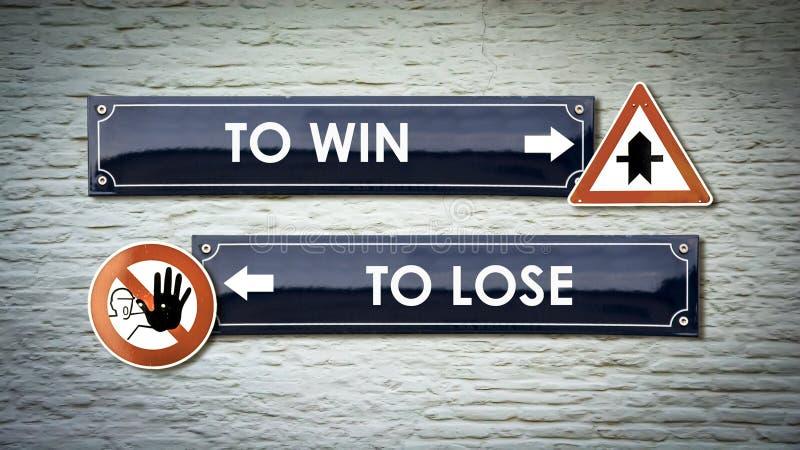 Znak Uliczny WYGRYWA? versus GUBI? ilustracji