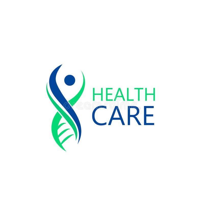 Znak w postaci DNA molekuły Logo dla kliniki, firma farmaceutyczna Wektor odizolowywający na białym tle ilustracji