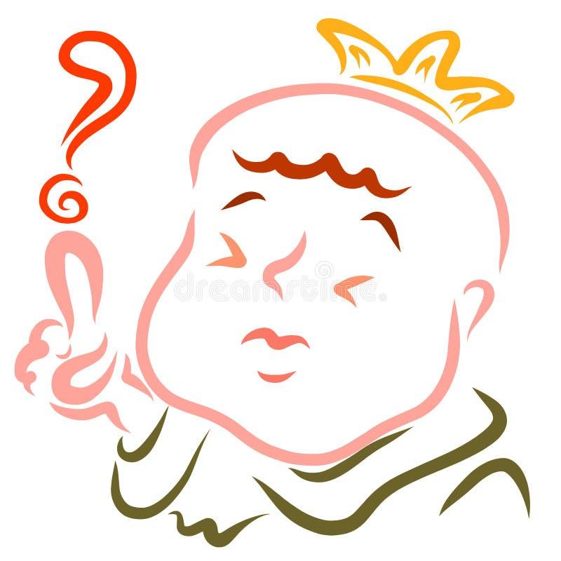 Znak zapytania, śmieszny królewiątko pyta lub rozpamiętywa ilustracja wektor