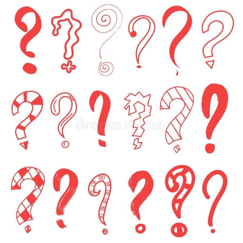Znak zapytania czerwoni Grafiki faq, pyta Wektorowy pytanie Odosobniony symbol Abstrakt Ręka rysujący ustalony doodle znak zapyta royalty ilustracja