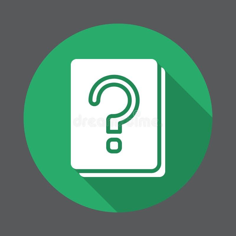 Znak zapytania książkowa płaska ikona Round kolorowy guzik, kółkowy wektoru znak z długim cienia skutkiem royalty ilustracja