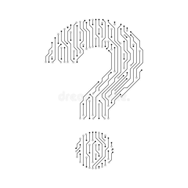 Znak zapytania kształta cyfrowej linii projekt royalty ilustracja