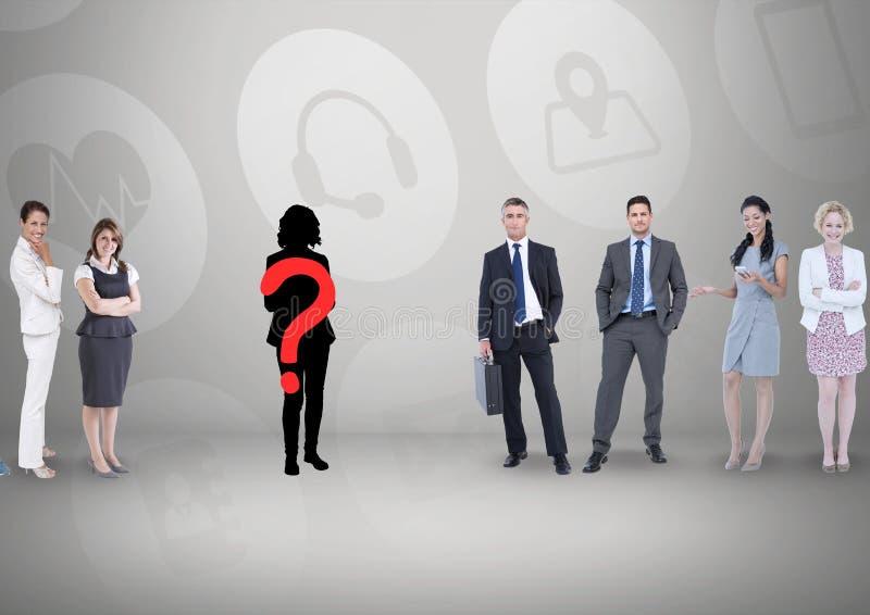 Znak zapytania na sylwetce z ludźmi biznesu zdjęcia royalty free