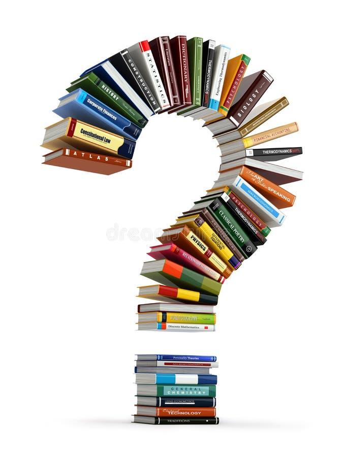 Znak zapytania od książek Gmeranie informacja lub FAQ edication royalty ilustracja