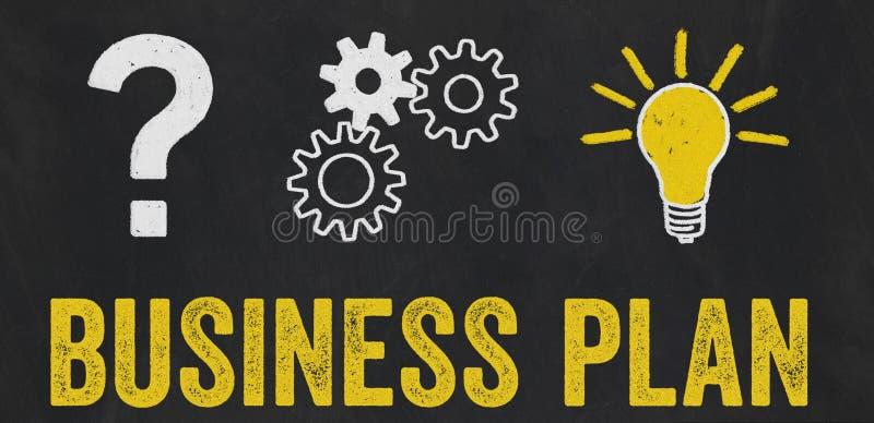 Znak Zapytania, przekładnie, żarówki pojęcie - plan biznesowy royalty ilustracja