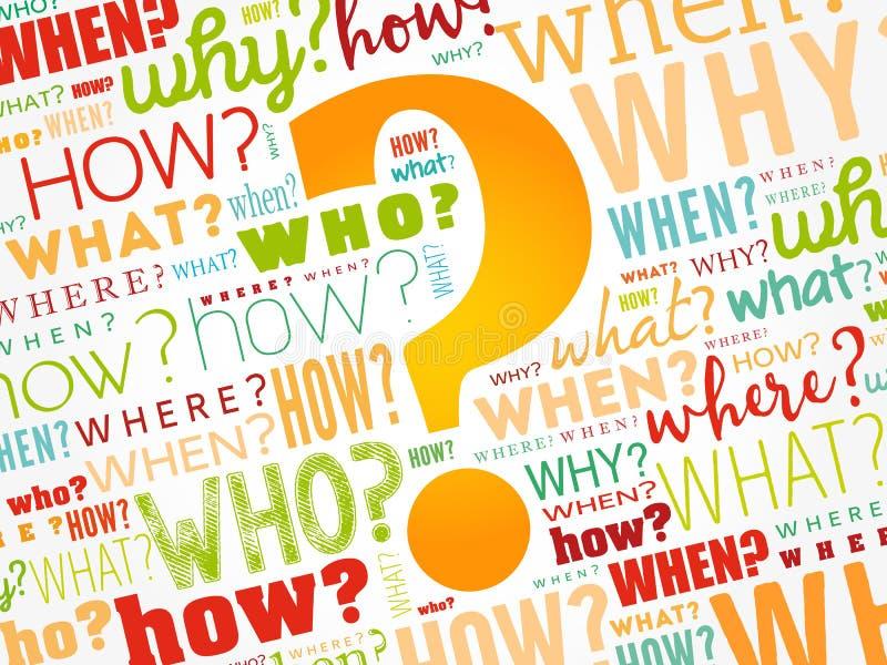 Znak zapytania, słowa obłoczny tło zdjęcia stock