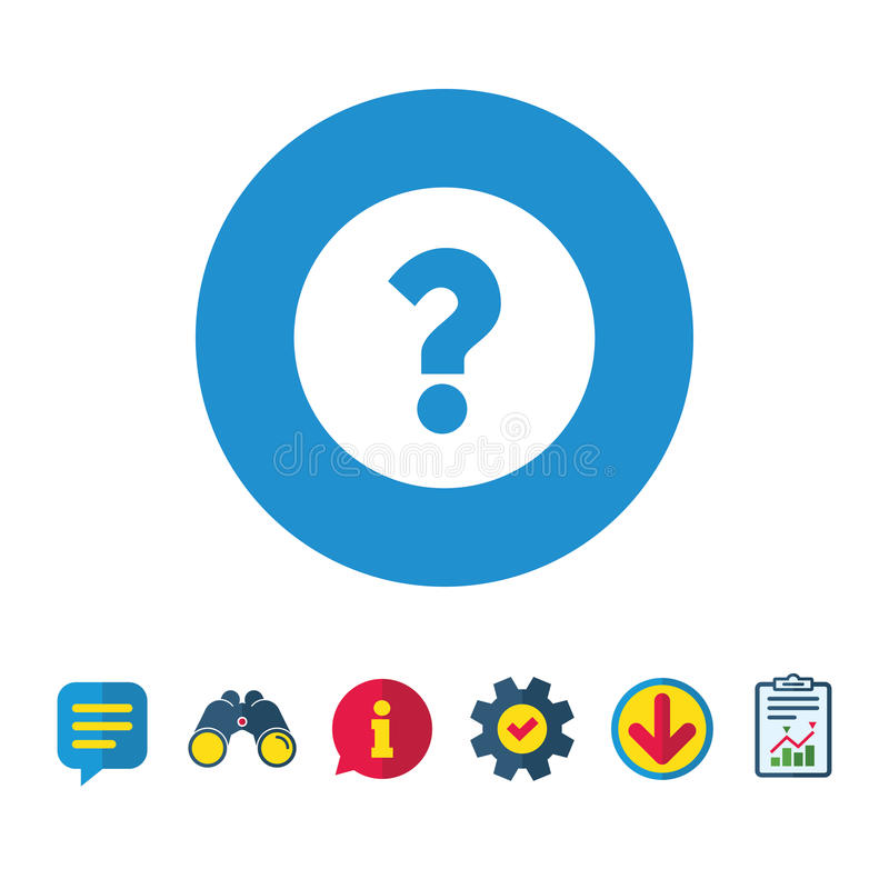 Znak zapytania szyldowa ikona Pomoc symbol royalty ilustracja