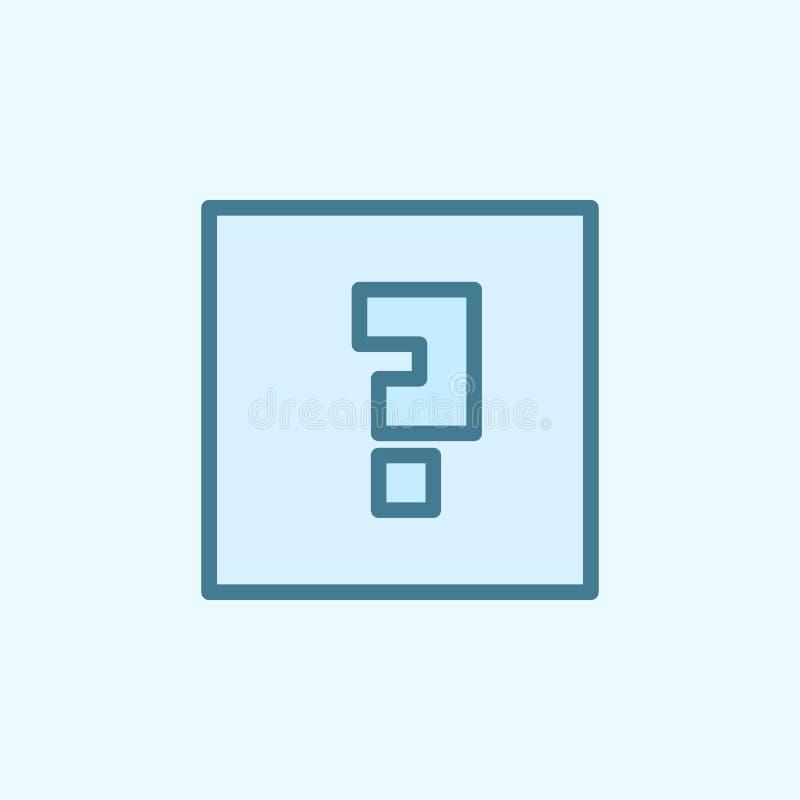 znak zapytania w kwadratowej śródpolnej kontur ikonie Element 2 kolorów prosta ikona Cienka kreskowa ikona dla strona internetowa ilustracja wektor