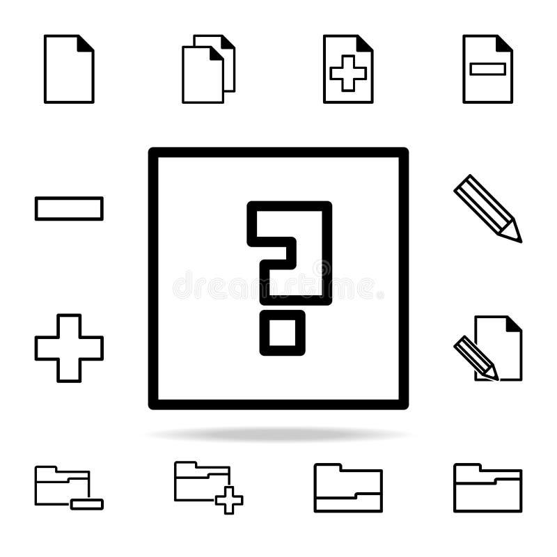 znak zapytania w kwadratowej ikonie sieci ikon ogólnoludzki ustawiający dla sieci i wiszącej ozdoby ilustracja wektor
