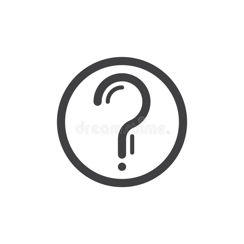 Znak zapytania w okrąg linii ikonie ilustracja wektor