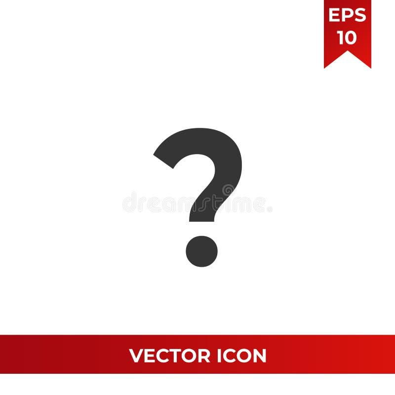 Znak zapytania wektorowa ikona, pyta symbol FAQ i pomoc piktogram, płaski wektoru znak odizolowywający na białym tle prosty ilustracji