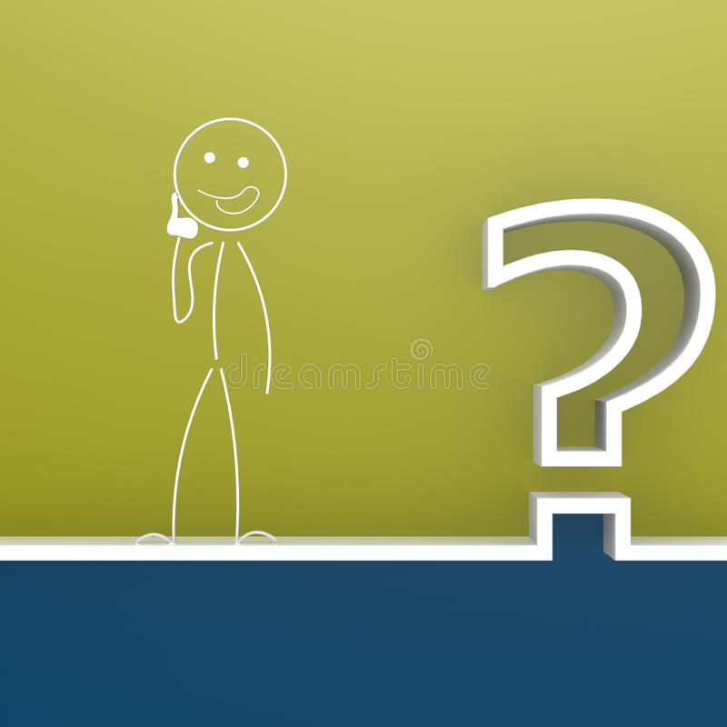 Znak zapytania z ciekawą kukłą royalty ilustracja