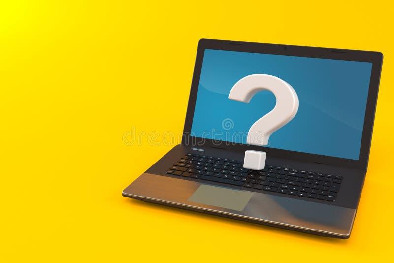 Znak Zapytania z laptopem royalty ilustracja